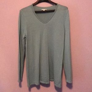 Soft Sea foam Merino Wool J. Jill v-Neck Sweater
